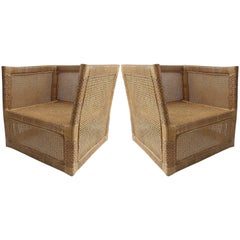 Pair of 1960s Vietnamese Woven Wicker and Rattan Club Chairs