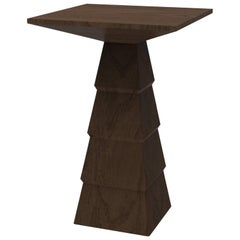 Meso Side Table in Brutalist Shape with Rich and Contrasting Woods