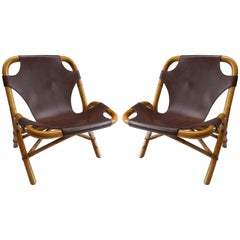 Pair of 1950s Italian Rattan and Leather Chairs by Pierantonio Bonacina