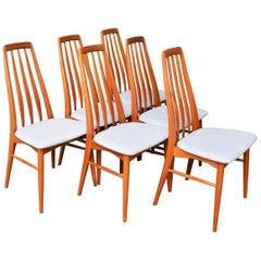 Set of Six Restored Koefoeds Hornslet Teak Eva Chairs in Cream Upholstery