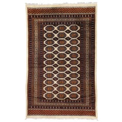 Vintage Pakistani Bokhara Rug with Modern Tribal Style