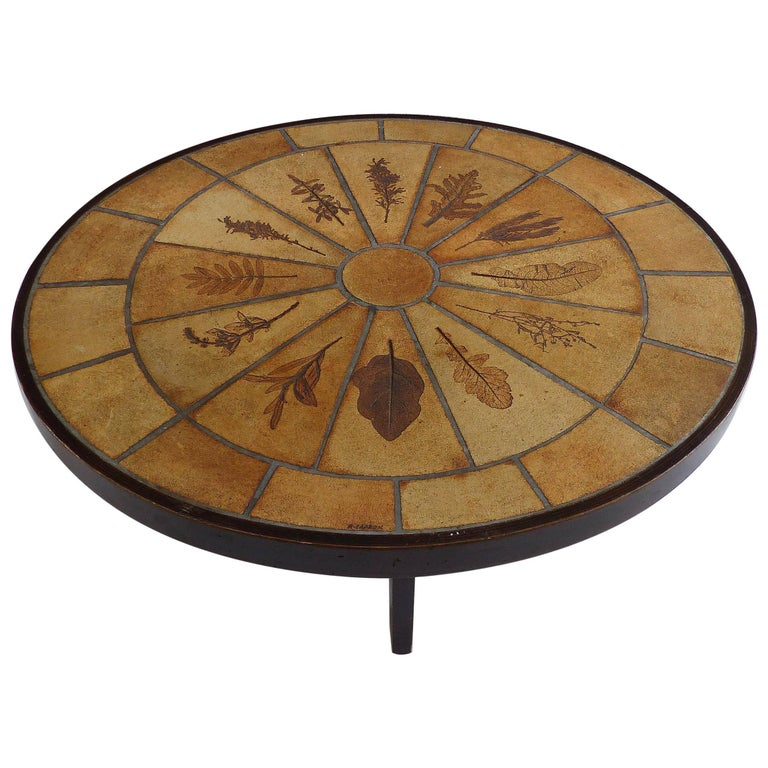 """1950s Signed Roger Capron """"Pressed Leaves"""" Ceramic Tile Coffee Table"""