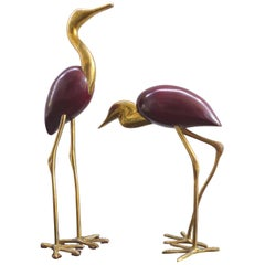 Italian Pair of 1960s Brass and Wood Cranes