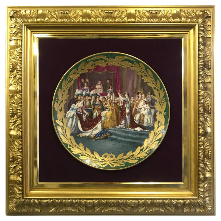 French Sevres Green Ground Porcelain Framed Charger Napoleon Courting Josephine For Sale