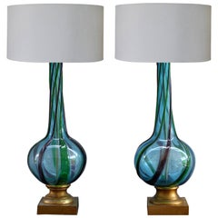 1960s Mid-Century Modern Pair of Blown Murano Glass Table Lamps