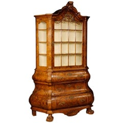 Dutch Burl Walnut and Carved Mahogany Wooden Showcase from 20th Century
