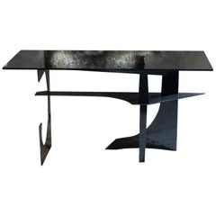Flair Edition Brutalist Style Steel and Smoked Glass Writing Desk