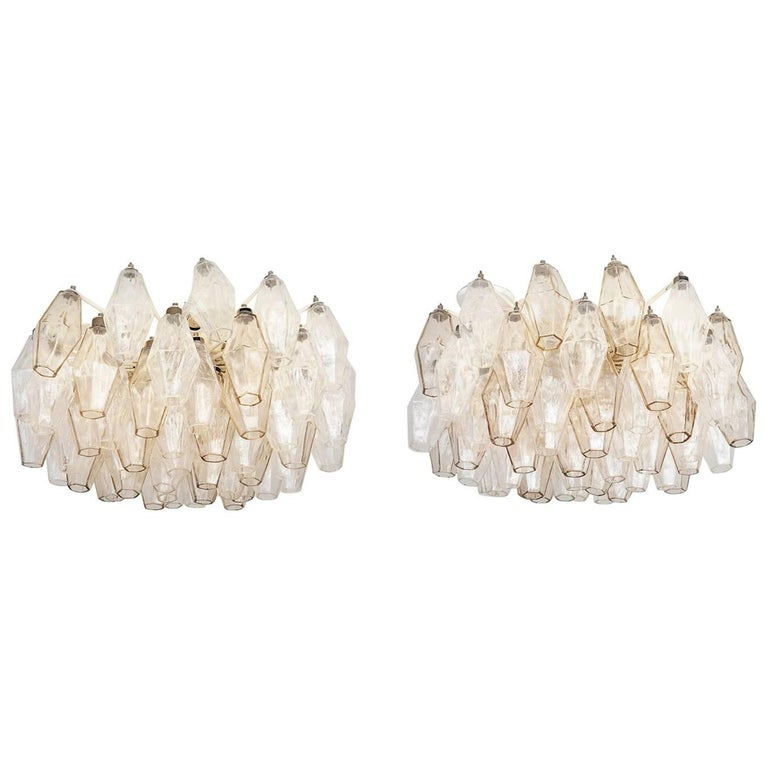 Pair of Vintage Venini Glass Chandeliers For Sale