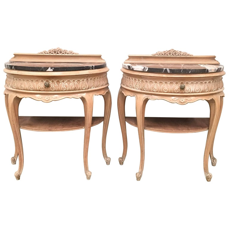 20th Century Pair of Midcentury Nightstands with Original Patina and Top Marble