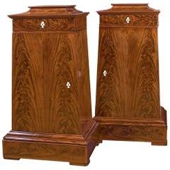 Danish Mahogany Cabinets of Trapezoidal Shape, 19th Century