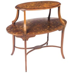 Antique English Marquetry Etagere Occasional Coffee Table 19th Century