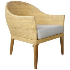 French Design Rattan and Wooden Teak Armchair