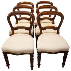Set of Six Victorian Mahogany Balloon-Back Dining Chairs