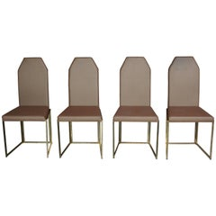 Brass and Coppered Fabric Dutch Design Set of Four Chairs Belgo Chrome