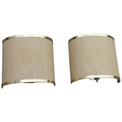 Rattan Curved Wall Lamps and Very Elegant Brass 1970s