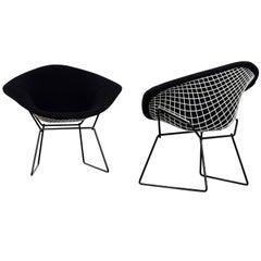 Pair of Harry Bertoia Diamond Armchairs in Original Black Fabric