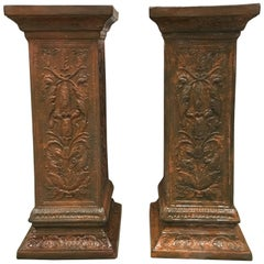 19th Pair of Columns or Pedestals in Glazed Handmade Terracotta
