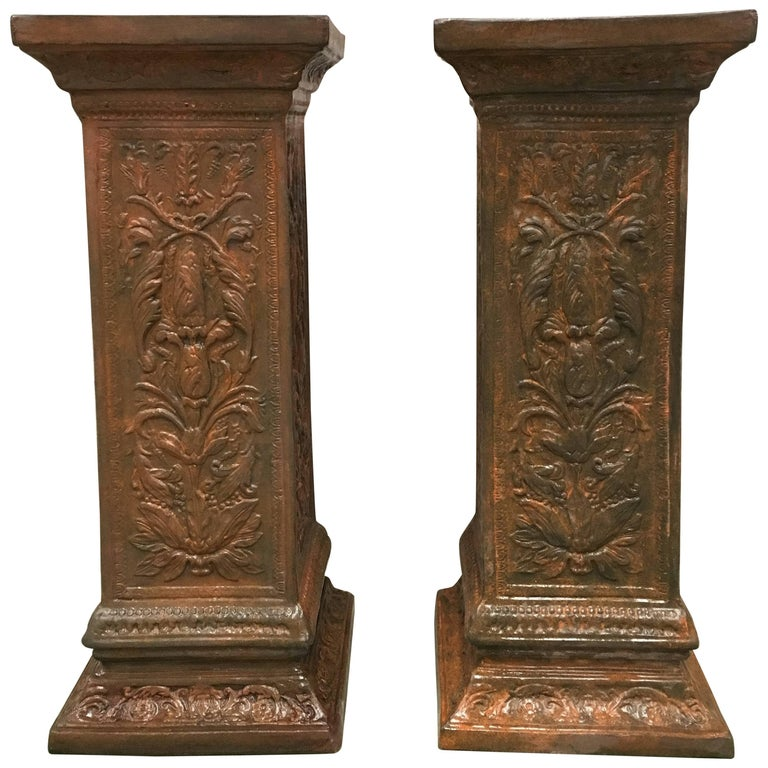 19th Pair of Columns or Pedestals in Glazed Handmade Terracotta