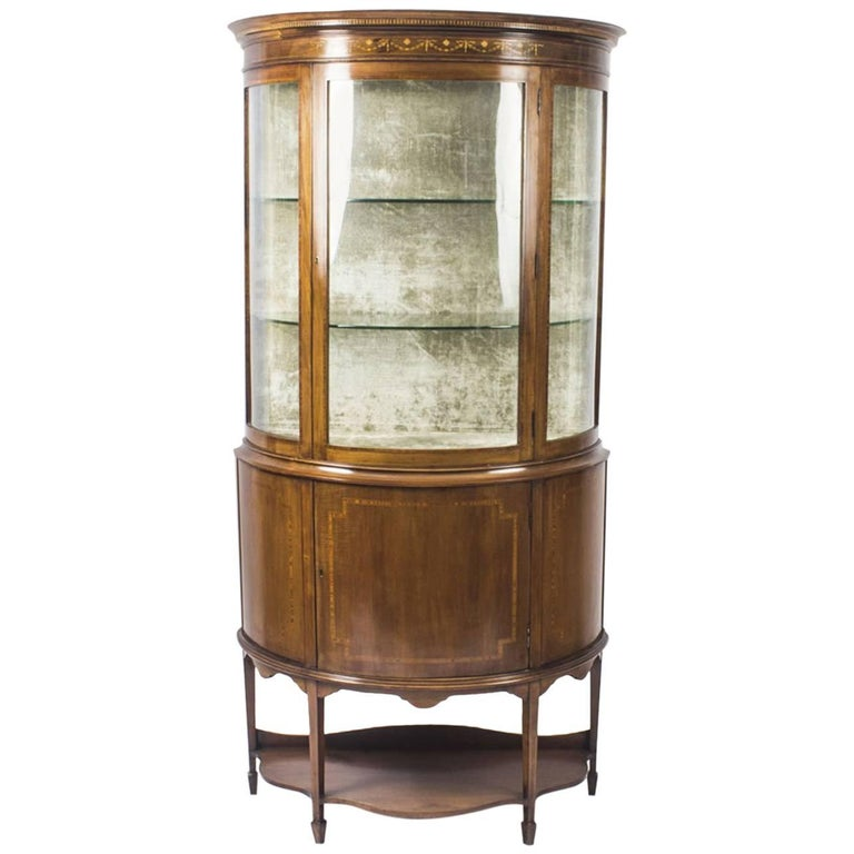 Early 20th Century Edwardian Half Moon Glazed Inlaid Mahogany Display Cabinet