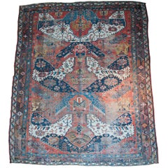 Late 19th Century Antique Persian Geometric Blue Drawing Hand-Knotted Heriz Rug