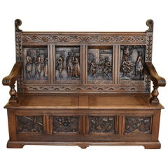 19th Century Carved Oak Box Settle