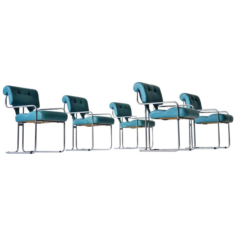 Set Dining Chair by Faleschini Guido Pace Tucroma Chrome Tubular Steel Leather