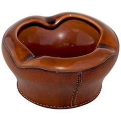 Ashtray in Leather and Ceramic by Longchamp Paris