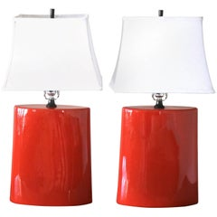 Stunning 1980s Pair Ceramic Vermillion Red Table Lamps with White Shades