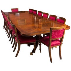 Early 20th Century Twin Pillar Regency Style Dining Table & 14 Chairs