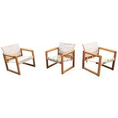 Three Armchairs in Pine and Leather, circa 1970