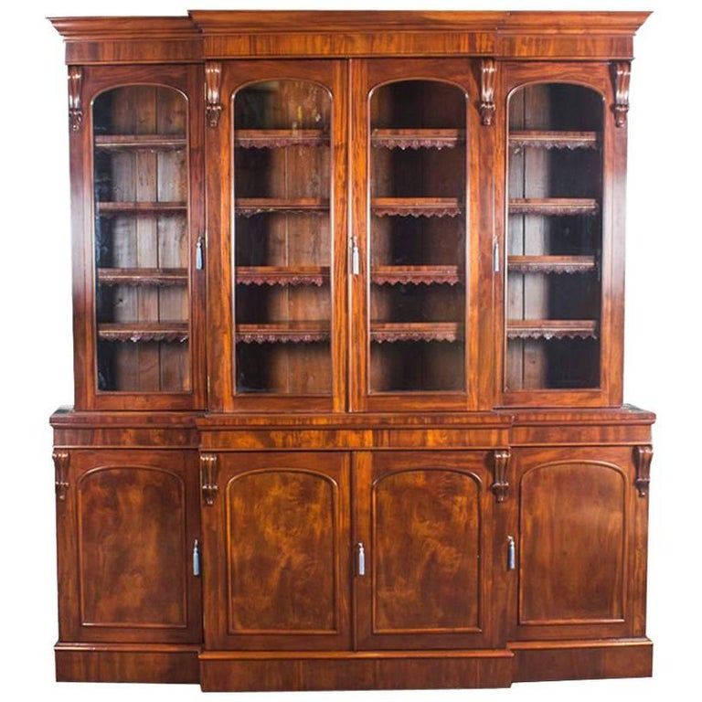 Antique English Flame Mahogany Four-Door Breakfront Bookcase, 19th Century