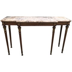 French Louis XVI Style Gilt Decorated Wooden Console Table with Marble Top