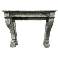 19th Century Blue Fleuri Empire Marble Fireplace