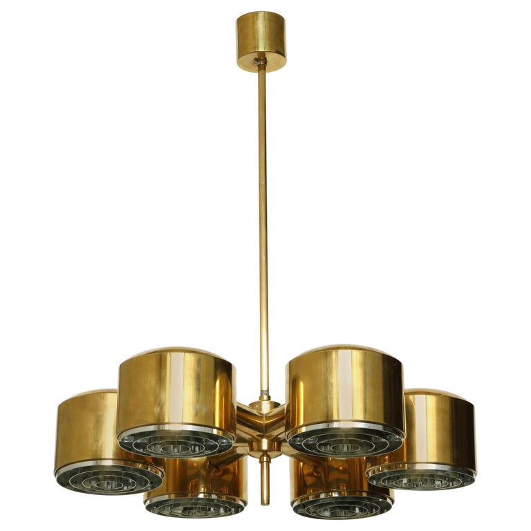 Hans-Agne Jakobsson Brass Chandelier For Sale