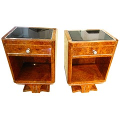 Petite Nightstands, Amboyna Root Veneer, France circa 1930