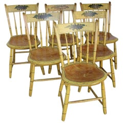 Set of Six Massachusetts Yellow-Painted Slat-Back Windsor Chairs