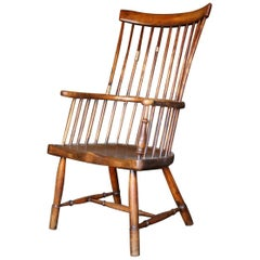 18th Century Scottish Elm and Birch Comb Back Windsor Armchair