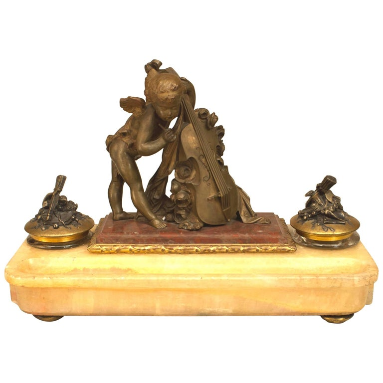 French Louis XV Style, 19th Century Bronze Double Inkwell