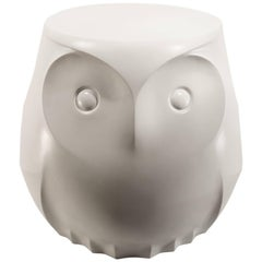 White Owl Side or End Table Sculptural Hand Cast Hydrostone