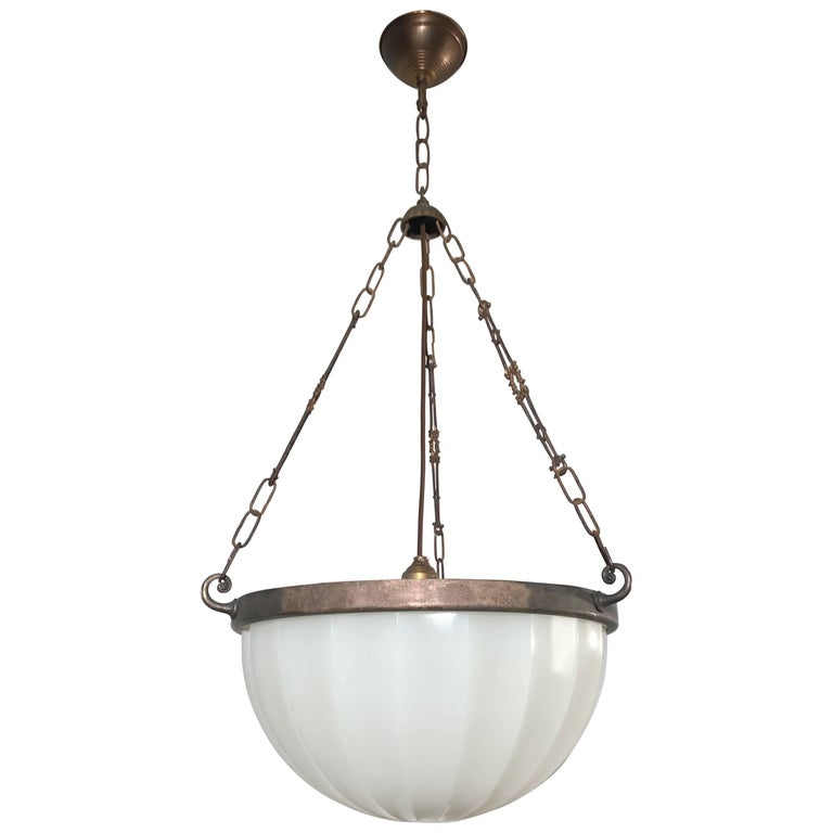 Striking Art Deco Period Glass, Brass and Metal Chain Pendant Light, circa 1920