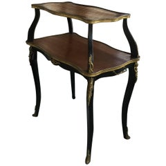 Elegant Louis XV Style Two-Tier Walnut Parquet Top Side Table