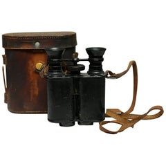 Leather Wrapped Binoculars and Leather Case, circa 1940s-1950s