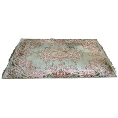 Lovely Silk Aubusson Style French Pastel Rug
