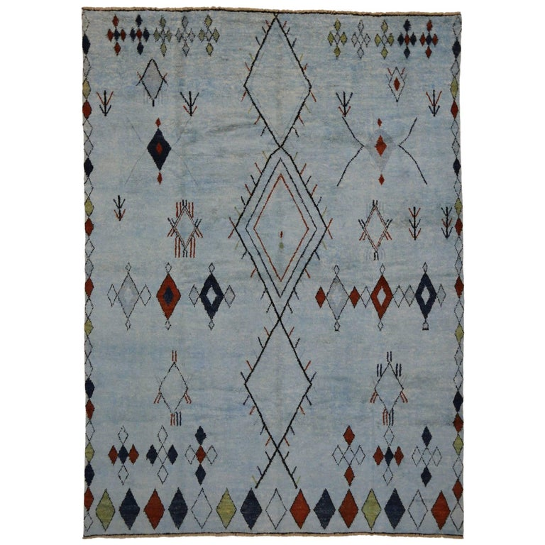Contemporary Moroccan Style Overdyed Rug with Tribal Design