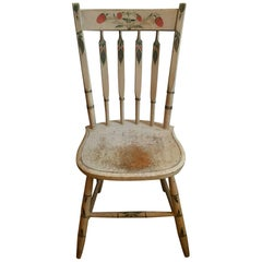 New England White-Painted Slat-Back Windsor Side Chair