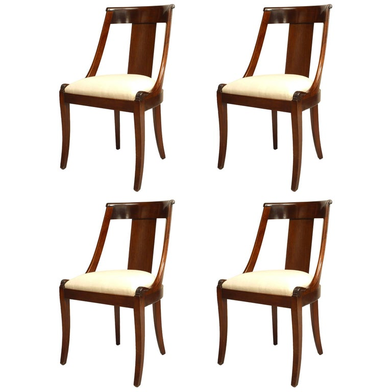 Set of Four French Empire Style '19th Century' Mahogany Sleigh Back Side Chairs