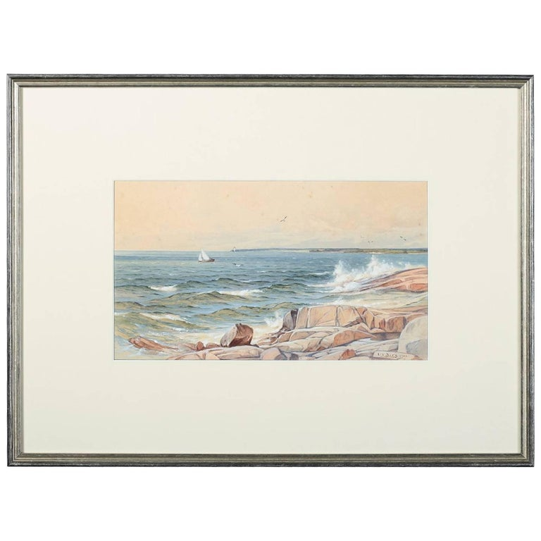 Antique 'Rocky Coast' Watercolor with Gouache Painting by Albert Berg, 1901