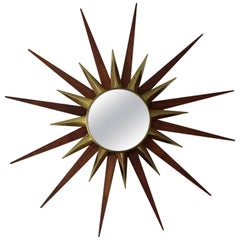 Mid-Century Modern Walnut and Brass Starburst Wall Mirror