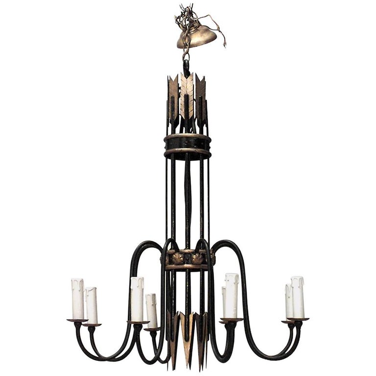 French 1940s Iron Eight-Arm Chandelier