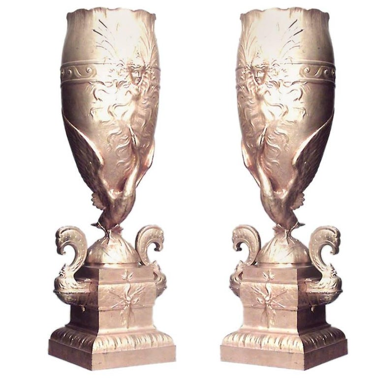 Pair Of French Victorian Gilt Bronze Tall And Narrow Vases For Sale